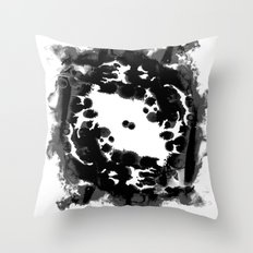Enso black and white minimal watercolor japanese abstract painting zen art Throw Pillow