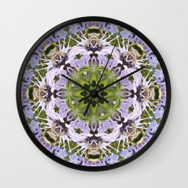 Lacy Lavender Wild Bergamot Kaleidoscope Wall Clock