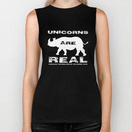 Unicorns Are Real, white text Biker Tank