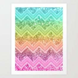 Rainbow Glitter Chevron #1 #shiny #decor #art #society6 Art Print