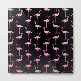Pink Glitter Flamingo Pattern  |  Black Background Metal Print