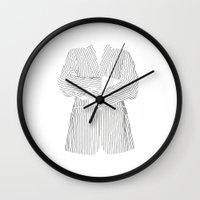 striped Wall Clocks featuring Striped by Ehud Neuhaus Illustration
