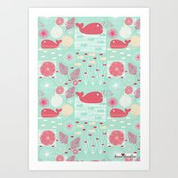whales Art Prints featuring Whales by Bexie Doodles