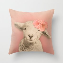 Flower Sheep Girl Portrait, Dusty Flamingo Pink Background Throw Pillow