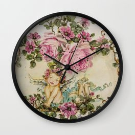 Sweet Cherub and Pink Roses Painting Wall Clock