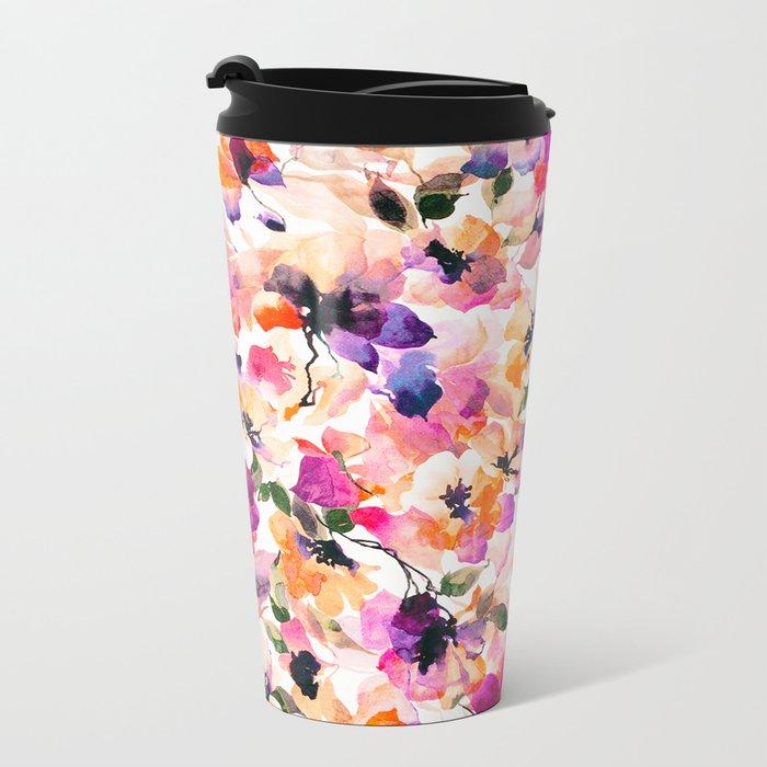 Chic Floral Pattern Pink Orange Pastel Watercolor Metal Travel Mug