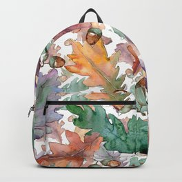 Colorful Watercolor Oak And Acorn Pattern Backpack