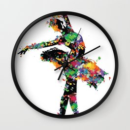 Ballerina with paint splash Wall Clock