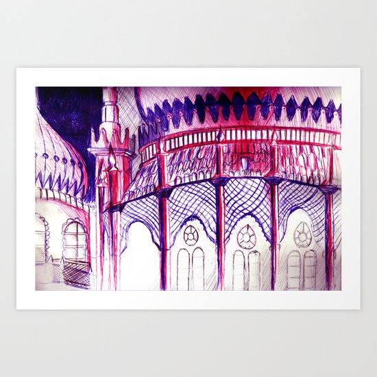 Pavillion at Night Art Print