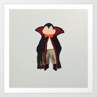 toddler Art Prints featuring Trick or Treat Halloween Toddler Vampire Dracula by PodArtist
