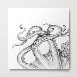 Tentacles Kraken Octopus Nautical White Ink Metal Print
