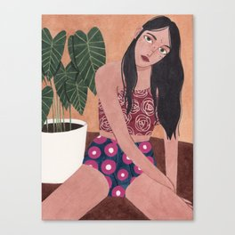Sitting on the floor Canvas Print