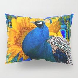 #2 BLUE PEACOCK &  SUNFLOWERS BLUE MODERN ART Pillow Sham