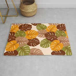 Retro 70s Monstera leaves brown orange moss green Rug
