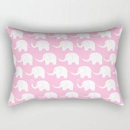 Elephant Parade on Pink Rectangular Pillow