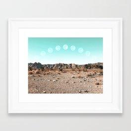 Desert Daylight Moon Ridge // Summer Lunar Landscape Teal Sky Red Rock Canyon Rock Climbing Photo Framed Art Print