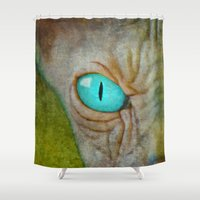 sphynx Shower Curtains featuring Sphynx by BruceStanfieldArtist.DarkSide