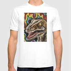 Rainbow Raptor:: Colorful Dinosaur Mens Fitted Tee MEDIUM White