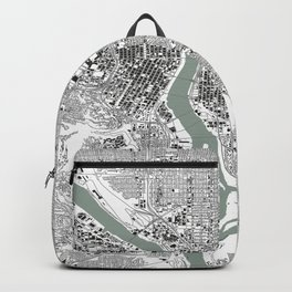 Portland, OR City Map Black/White Backpack