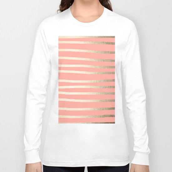 Simply Drawn Stripes in White Gold Sands and Salmon Pink Long Sleeve T-shirt