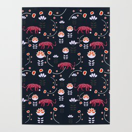 Pink jaguars in the night Poster