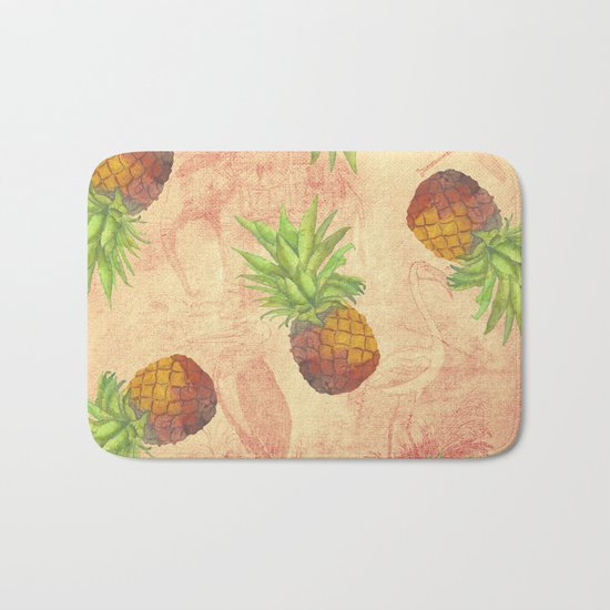 Retro Vintage Pineapple with Grunge Animals Background on #Society6 Bath Mat