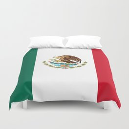 The Mexican national flag - Authentic high quality file Duvet Cover