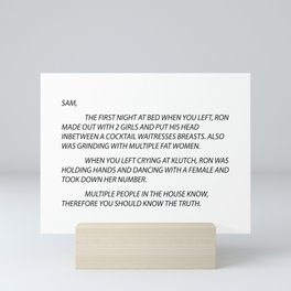 Sammi Anonymous letter to sam Mini Art Print