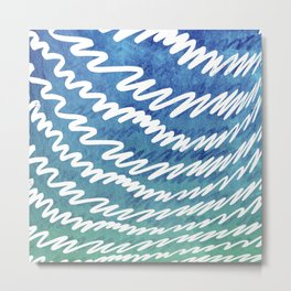 Irregular white lines on blue and green gradient background Metal Print