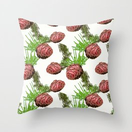 Fir cones and branches on white. Throw Pillow