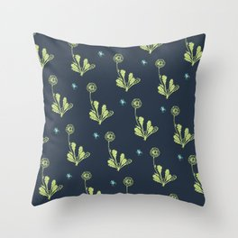 Spider Daisies (green + navy) Throw Pillow