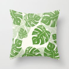 Linocut Monstera Leaf Pattern Throw Pillow