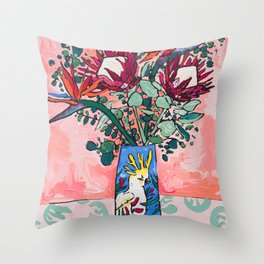Cockatoo Vase on Painterly Pink Throw Pillow
