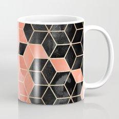 Black And Coral Cubes Mug