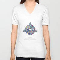 dolphin V-neck T-shirts featuring Dolphin by Narek Gyulumyan