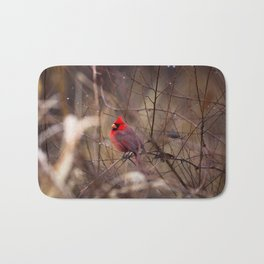 Cardinal - Bright Red Male Bird Rests in Raindrops Bath Mat