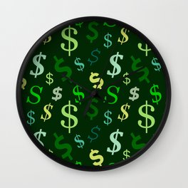 money us dollar green Wall Clock