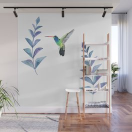 Hummingbird with tropical leaves watercolor design Wall Mural