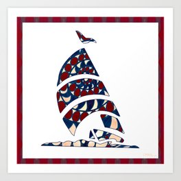 Dolphin Nautical Nursery Art by Omashte Art Print