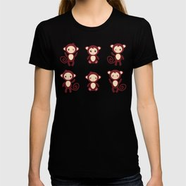 pattern with funny brown monkey boys and girls on white background. Vector illustration T-shirt