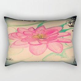 Pink Zen Lotus Drawing Rectangular Pillow