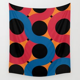Other Black Round Spheres being hug by red, orange and blue snakes Wall Tapestry