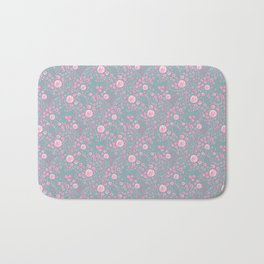 Abstract pink garden pattern in cian background Bath Mat