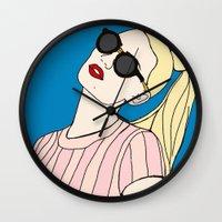 iggy azalea Wall Clocks featuring Iggy Azalea Blue by Kacey Ong