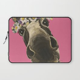 Pink Donkey Art, Flower Crown Donkey Art Laptop Sleeve