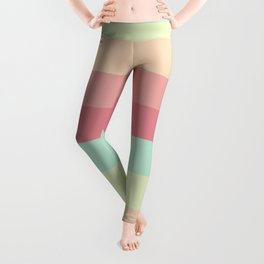Summer pastel colours geometric horizontal lines pattern for home decoration Leggings