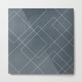 Overlapping Diamond Lines on Peninsula Blue Metal Print