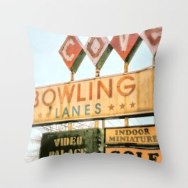 Bowling photography Throw Pillow