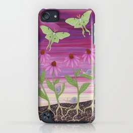 echinacea daydream with luna moths and snails iPhone Case