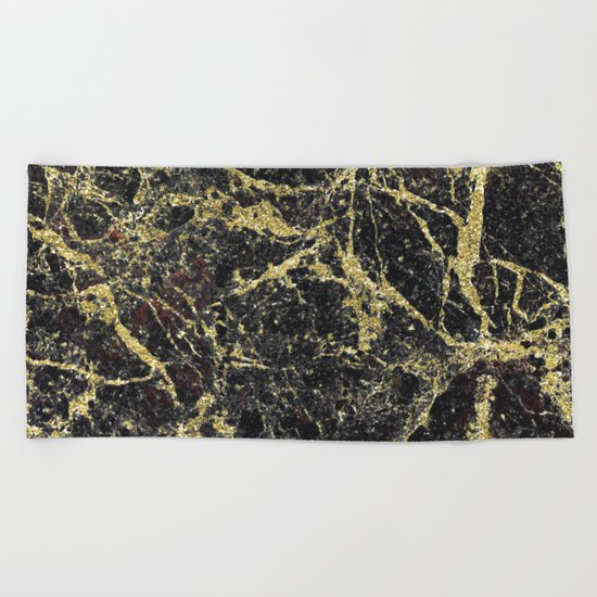 Marble - Glittery Gold Marble on Black Design Beach Towel